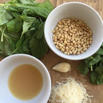 Basil, Roasted Pine Nuts, Spinach, Parmesan, Garlic, and Lemon Juice