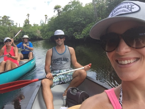Canoeing in the Loxahatchee River with Patrick, his dad, Ken and Lynn.